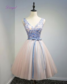 >> Click to Buy << Dreagel Romantic A-Line Party Gown Appliques V-neck Short Homecoming Dresses 2017 Appliques Beaded Graduation Dresses Plus Size #Affiliate
