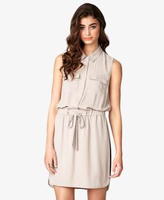 Tie-Front Georgette Shirtdress | FOREVER 21 - 2027704308
