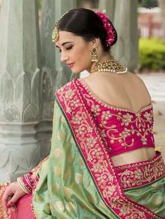 Indian Wedding Saree Latest Designs & Trends Collection includes beautiful styles of bridal wear sarees for Pakistani, Bengali, Asian women! Best Indian Sari Click above VISIT link to see Latest Saree Trends, Latest Sarees, Sari Design, Blouse Designs Silk, Bridal Blouse Designs, Covet Fashion, Classy Fashion, Latest Fashion, Vintage Fashion