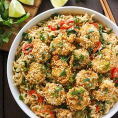Oven Fried Shrimp and Thai Coconut Ramen Noodle Bowl - healthier oven fried shrimp tops this Thai-inspired ramen noodle bowl. Ramen Recipes, Seafood Recipes, Asian Recipes, Cooking Recipes, Healthy Recipes, Noodle Recipes, Delicious Recipes, Yummy Food, Shrimp Noodles