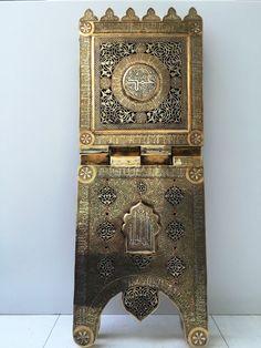 Islamic Quran Stand Silver Inlay Kufi Arabic Masterpiece Allah's 99 Names