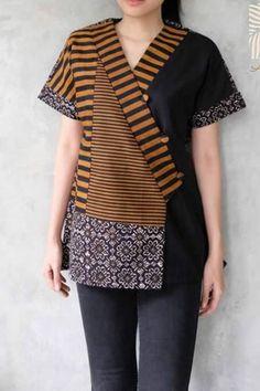 Blouse Batik, Batik Dress, Kurta Designs, Blouse Designs, Mode Batik, High Collar Blouse, Batik Kebaya, Batik Fashion, Creation Couture