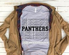 Check out our svg bundle selection for the very best in unique or custom, handmade pieces from our shops. School Spirit Shirts, School Shirts, Cheer Shirts, Team Shirts, Personalized Shirts, Custom Shirts, Panthers Team, School Shirt Designs, Spirit Wear