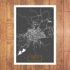 MORELIA Mexico CANVAS Large Art City Map Morelia by JackTravelMap
