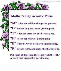 Mother' Day Cards To Print | Mother's Day Poem Greeting Card to ...