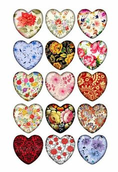 Flower Patterns Heart Shaped images for Glass Heart Pendants, stickers. 15 unique images repeated on collage sheet. ■ You will receive Heart shaped Images in 1 inch. Carta Collage, Collage Sheet, Creation Bougie, Printable Images, Paper Art, Paper Crafts, Paper Toys, Etiquette Vintage, Shapes Images