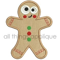 Happy Gingerbread Applique - 3 Sizes! | What's New | Machine Embroidery Designs | SWAKembroidery.com All Things Applique