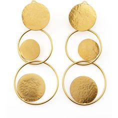 Herve Van Der Straeten Hammered Gold Circle Drop Earrings (73.855 HUF) ❤ liked on Polyvore featuring jewelry, earrings, accessories, gioielli, gold, 24 karat gold earrings, clip-on earrings, yellow gold earrings, gold clip on earrings and circle drop earrings