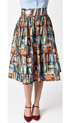 From our Beauty and the Beast collection: Lindy Bop 1950s Green & Bookcase Print Marnie Swing Skirt