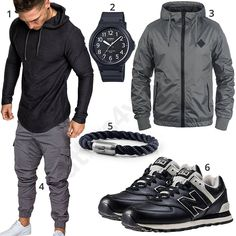 Street-Style mit Hoodie, Cargohose und Ledersneakern Street outfit for men with black Amaci & Sons hoodie and cargo pants, Casio watch, gray blend watch, Fischer's fritz bracelet and New Balance leather sneakers. Fashion Wear, Sport Fashion, Look Fashion, Men Street Outfit, Mode Man, Casual Outfits, Men Casual, Casual Attire, Herren Style
