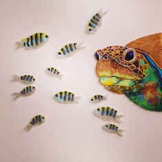 Bead Embroidered Turtle with Fish by Eleanor Pigman.  Eleanor-Pigman.squarespace.com