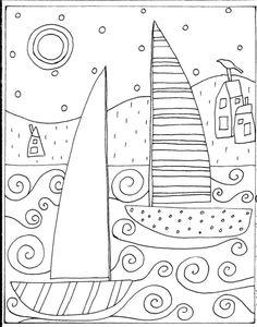 Alfombra De Gancho patrón de papel 2 Veleros & casas Folk Arte Abstracto primitivo Karla G