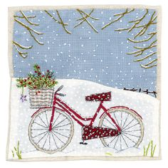 Cards & Stationery Pack Of 8 Mini Bicycle In Snow Woodland Trust Charity Christmas Cards Cello Pack & Garden Hand Applique, Applique Patterns, Applique Quilts, Quilt Patterns, Sewing Art, Sewing Crafts, Sewing Projects, Freehand Machine Embroidery, Free Motion Embroidery