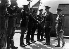 Marshal Ion Antonescu and King Michael I of Romania shake hands with the officers of the General Staff on their arrival at the railway station of Cernauti (Chernivtsi). 9 Mai 1945, Michael I Of Romania, Shake Hands, Politicians, World War Ii, Documentaries, Che Guevara, Berlin, People