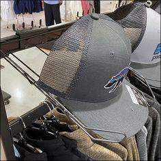 Patagonia Bar-Mount Cap Display Patagonia Jacket, Retail Fixtures, Store Fixtures, Tractor Supply Company, Hat Display, Hat Stores, Bar Stock, Slat Wall