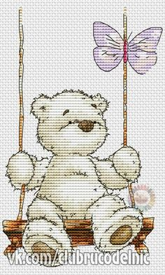 Teddy bear on a swing cross stitch pattern Cute Cross Stitch, Cross Stitch Animals, Cross Stitch Charts, Cross Stitch Designs, Cross Stitch Patterns, Cross Stitching, Cross Stitch Embroidery, Bear Crafts, Stitch Book