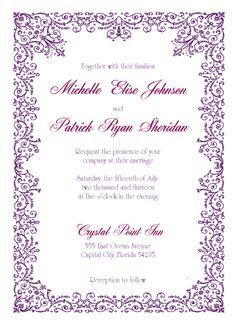 Blue Violet Wedding Invitation