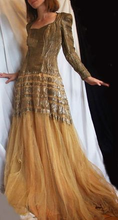 Vtg 1930s 40s Gold Lamé Long Party Dress Evening Ball Gown Prom Wedding WWII Era | eBay