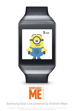 Despicable Watch Face for Android Wear. Make your Android Wear watch your own with the mischievous antics of the Minions from the DESPICABLE ME franchise. Learn more at www.android.com/wear. Download the watch face at https://play.google.com/store/apps/details?id=co.touchlab.wear.despicable.watch.