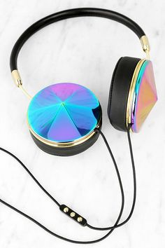 This is totally my style. :) ---FRENDS Headphones Taylor style in Oil Slick - a beautiful mix of blue, pink & purple with gold accents. Interchangeable cap sets available to mix & match.