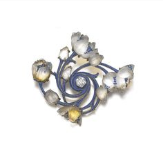 Enamel, glass and diamond brooch, Lalique, circa 1900 -  Designed as glass flowers spiralling out from a hexagonal diamond, the branches applied with translucent enamel, signed Lalique, French assay mark; together with a similarly set baton link necklace, length approximately 535mm, French assay marks.