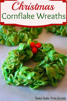Christmas Cornflake Wreaths (Guest Post) - One of my favorite holiday treats!: Christmas Cornflake Wreaths are one of my favorite easy Christmas treats that everyone in your family will love! Easy Christmas Treats, Christmas Sweets, Christmas Cooking, Christmas Goodies, Holiday Treats, Christmas Parties, Christmas Wreaths, Christmas Wreath Cookies, Christmas Christmas