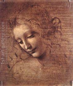 Female head (The Lady of the Dishevelled Hair) (or La Scapigliata)  by Leonardo Da Vinci