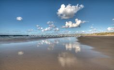 Cloud Reflections on Hayle Sands looking towards Godrevy Lighthouse - St Ives and Hayle