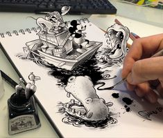 Cartoon Drawings, Drawing Sketches, My Drawings, 3d Painting, Vintage Art, 3 D, Mickey Mouse, Cartoons, Doodles