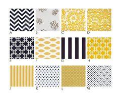 NaUTicAL :  Yellow and Navy - Stripes, Chevron - Modern Custom Crib Bedding Set - Blanket, Fitted Sheet, Crib Skirt - Blue, Yellow, Taupe
