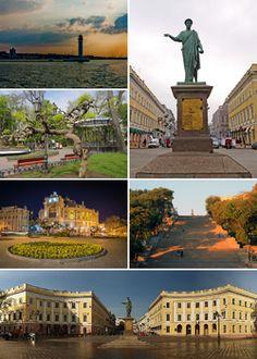 Clockwise: monument to Duke de Richelieu, Vorontsov Lighthouse, city garden, Opera and Ballet Theatre, Potemkin Stairs, Square de Richelieu