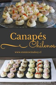 Chilean Canapes, something that can not be missed in celebrations and parties in Chile. Choose your favorite variety. Snacks Für Party, Appetizers For Party, Appetizer Recipes, Snack Recipes, Cooking Recipes, Chilean Recipes, Chilean Food, Food Platters, English Food