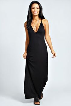 Carmen Strappy Low Neck Maxi Dress