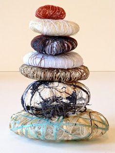Mixed media pebble cairn Janilaine Mainprize Art@41