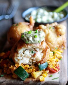 Blue Cheese Lobster Beignets with Spicy Avocado Cream + Garden Veggie Sauté - Half Baked Harvest Lobster Recipes, Seafood Recipes, Cooking Recipes, Seafood Meals, Donut Recipes, Seafood Dishes, Meat Appetizers, Appetizer Recipes, Appetizer Ideas