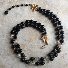 Black Glass Necklace Glass Bead Necklace Vintage by ClockworkZoo