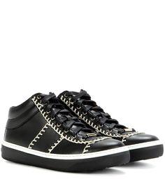 JIMMY CHOO Bells Mid-Top Leather Sneakers. #jimmychoo #shoes #sneakers