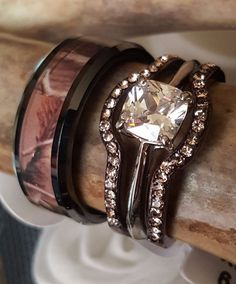 Camouflage Wedding Set Men's & Women's Engagement plus Wedding Bands Mens Tungsten Carbide Camo Inlay Band