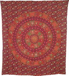 Siana Elephant Mandala Tapestry, Bohemian Wall Hanging and Bedspread (Large, 7 X 8 Feet, Red, 100% Cotton, Fair Trade Certified)