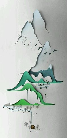 Vertical landscape paper art by Eiko Ojala
