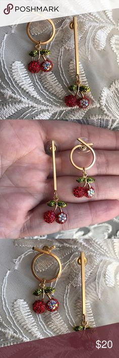 ☀️NEW☀️🍒Cherries Earrings🍒 Gorgeous sparkling cherries🍒with iridescent accents. Disc backs. Post earrings are for pierced ears. Fashion/costume jewelry. As with all merchandise, seller not responsible for fit nor comfort. Brand new boutique retail. No trades, no off App transactions.  ❗️PRICE IS FIRM UNLESS BUNDLED❗️ Jewelry Earrings