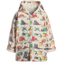 Boys smart ivory raincoat with hood with an all over vintage transport print. It has a shower resistant super soft outer shell and is fully lined in soft toweling. It fastens with easy to snap poppers and two front pockets for all those little boy items that need to be collected and kept safe.<br /> <br /> <ul> <li>100% polyurethane<br /></li> <li>Lining: 100% cotton toweling</li> <li>Hood cannot be removed</li> <li>Gentle cycle wash<br /></li> <li>Large fitting<br ...