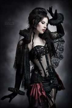 Black ruffles and lace.