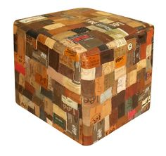 Ottoman made from recycled leather jeans labels!