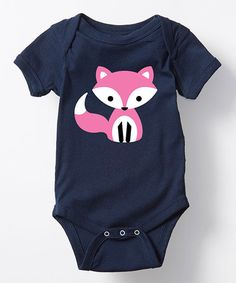 Navy & Pink Fox Bodysuit - Infant | zulily