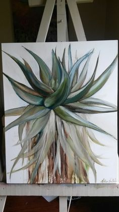 Oil on canvas - Melissa Von Brughan aloeoil Aloe Oil, List Of Paintings, Flower Art, Art Flowers, Cactus Art, Botanical Art, Watercolours, Canvases, Painting & Drawing