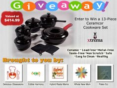 Biggest Xtrema Ceramic Cookware Giveaway of 2013.  Enter today to win our new 13 Piece Traditions Cookware Set.