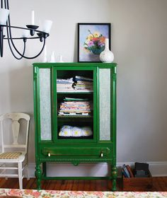 No. 20 {emerald green}- I love this color and I happen to have a cabinet almost exactly like this.