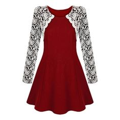 Lace Zippered Long Sleeves Red Dress | pariscoming
