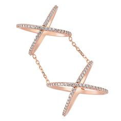 2e2450e64428 Amorium Rose Gold Plated 925 Sterling Silver CZ Stone Armor Joint Doubld X  Ring